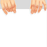 Male hands holding blank banner Royalty Free Stock Photos
