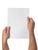 Male hands holding blank paper isolated Royalty Free Stock Image
