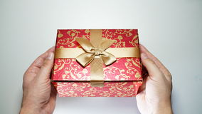 Male Hands Holding Box With Gift.  Stock Images