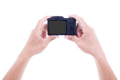 Male hands holding digital camera with blank screen isolated on Royalty Free Stock Image