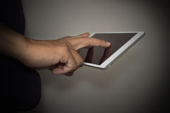 Male hands holding digital tablet touch screen Royalty Free Stock Photography