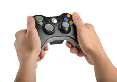 Male Hands Holding Gamepad isolated royalty free stock image