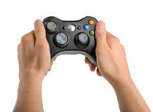 Male Hands Holding Gamepad isolated Stock Images