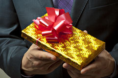 Male hands holding gift. Stock Images