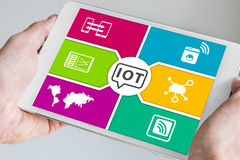 Male hands holding modern white tablet with IOT Internet of everything dashboard. Stock Photography