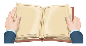 Male hands holding open book Stock Images