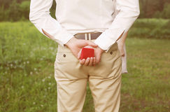 Male hands holding ring in red box. Men makes proposal woman Stock Photo