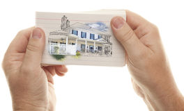 Male Hands Holding Stack of Flash Cards with House Drawing Royalty Free Stock Photo