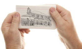 Male Hands Holding Stack of Flash Cards with House Drawing Stock Images