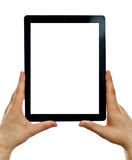 Male hands holding tablet computer. Royalty Free Stock Photography