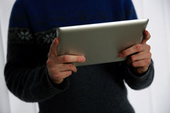 Male hands holding tablet computer Stock Photos