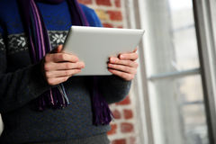 Male hands holding tablet computer Royalty Free Stock Photo