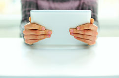 Male hands holding tablet computer Stock Images