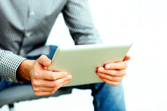 Male hands holding tablet computer Royalty Free Stock Photography