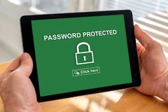 Password protected concept on a tablet Royalty Free Stock Photos