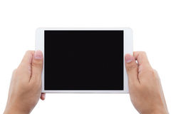 male hands holding a tablet touch computer gadget Stock Photo