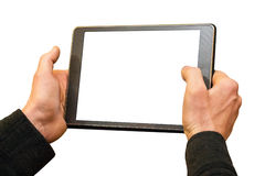 Male hands holding a Tablet. On a white background. Screen tablet also has an isolated white background stock photography