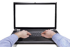 Male hands on the laptop Royalty Free Stock Image