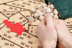Lotto board game. Male hands lie on cards lotto next to scattered kegs and chips Royalty Free Stock Image