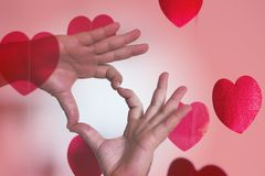 Male hands making heart shape Royalty Free Stock Images