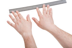 Male hands with measurng ruler isolated Stock Photos