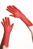 Male hands painted in red paint Royalty Free Stock Photos