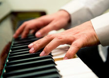 Male hands playing the piano. Close-up Stock Images