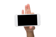 Male hands pointing on blank mobile phone screen Stock Image