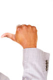Male hands, pointing. Sign. Stock Image