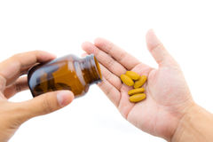 Male hands with prescription drugs, isolated Stock Photography