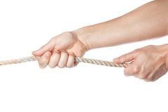 Male hands pulling the rope. On a white background Royalty Free Stock Image