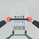 Male hands pushing empty shopping cart. Stock Image