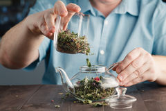 Male hands Puts herbal tea in the kettle royalty free stock image
