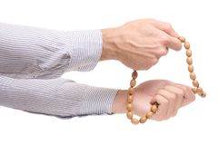 Male hands with rosary royalty free stock photography