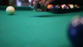 Male hands setting up balls pool billiards table.  stock footage