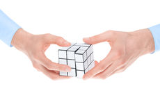 Solving a puzzle Royalty Free Stock Images