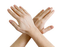 Male hands showing sign of stop Stock Photos