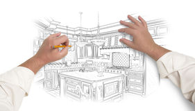 Male Hands Sketching Beautiful Custom Kitchen. Male Hands Sketching with Pencil the Outline of a Beautiful Custom Kitchen Stock Images