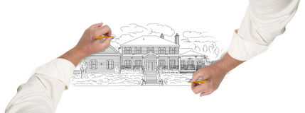 Male Hands Sketching A Beautiful House Royalty Free Stock Photos