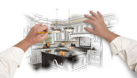 Male Hands Sketching Custom Kitchen with Photo Showing Through. Male Hands Sketching with Pencil A Custom Kitchen with Photo Showing Through Royalty Free Stock Photo
