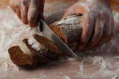 Male hands slicing fresh bread. Stock Images