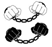 Male hands in steel handcuffs. Black and white. Vector illustration  on white Royalty Free Stock Image