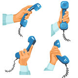 Male hands with telephones in them Royalty Free Stock Photo