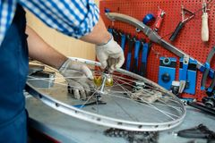Repair of wheel. Male hands in textile gloves fixing bolt on central part of bicycle wheel Royalty Free Stock Photography