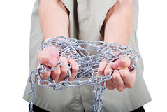 Male hands tied with chains. Want help Royalty Free Stock Photos