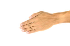 Male hands about to shake hands, over white background royalty free stock image