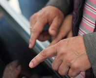 Male hands. touch screen Royalty Free Stock Photography