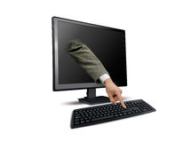 Male hands typing on keyboard Stock Photo