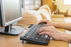 Male hands typing on keyboard Royalty Free Stock Photos