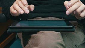 Male Hands Typing on a Tablet Computer, closeup stock video